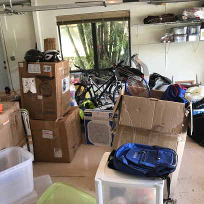 Piles of clutter in the garage