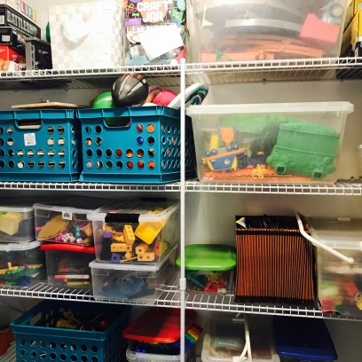 An organized Playroom Closet
