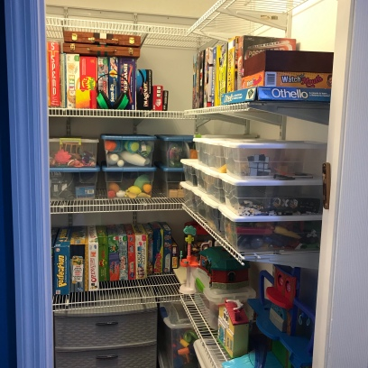 Neat and organized playroom closet